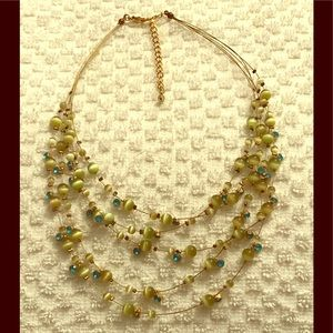Jewelry - Pale Green Tiger's Eye and Blue Topaz Necklace